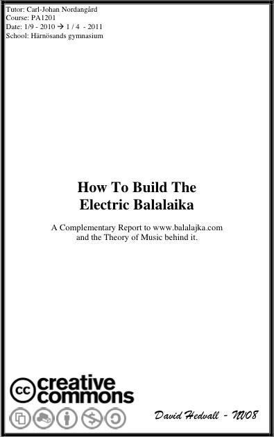 Essay Htbteb How To Build The Electric Balalaika Balalajka